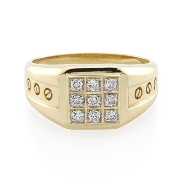 9CT Yellow Gold 0.27ct Diamond Gents Ring - Monty Adams