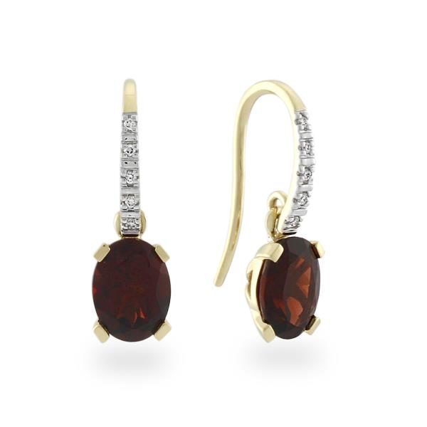 9CT Yellow Gold Diamond & Garnet Earrings - Monty Adams