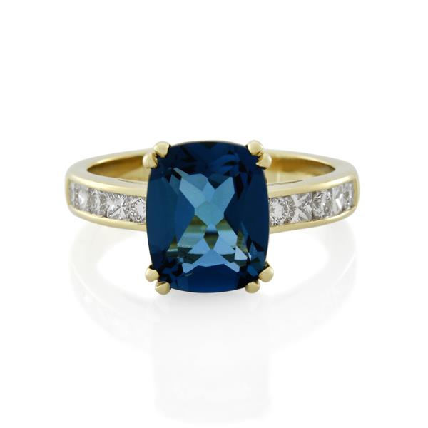 18CT Yellow Gold 0.51ct Diamond & London Blue Topaz Ladies Ring - Monty Adams