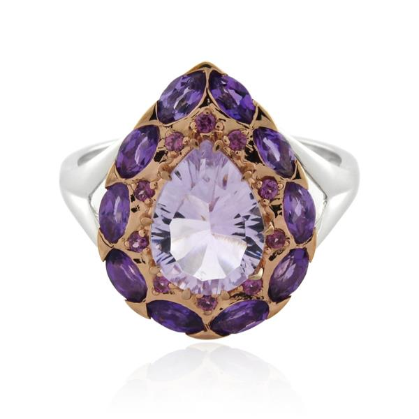 9CT White Gold Amethyst & Pink Amethyst & Rhodolite Garnet Ladies Ring - Monty Adams