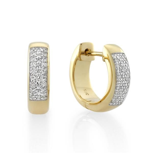 9CT Yellow Gold 0.18ct Diamond Earrings - Monty Adams