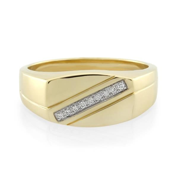 9CT Yellow Gold Diamond Gents Ring - Monty Adams