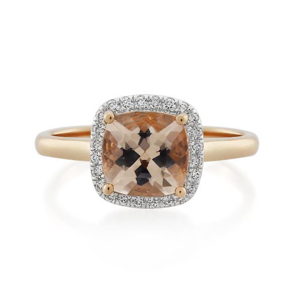 18CT Rose Gold 0.12ct Diamond & Morganite Ladies Ring - Monty Adams