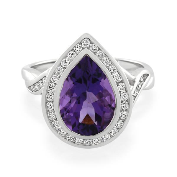 9CT White Gold 0.29ct Diamond & Amethyst Ladies Ring - Monty Adams