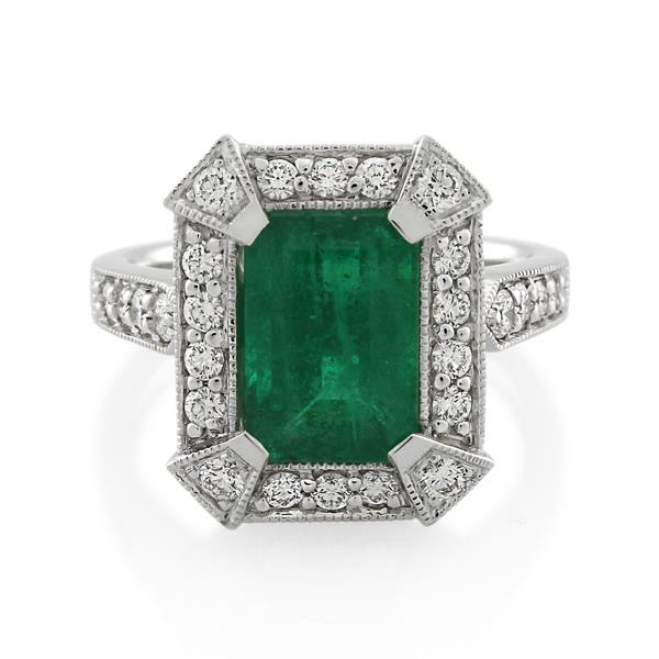 18CT White Gold 0.56ct Diamond & Emerald Ladies Ring - Monty Adams