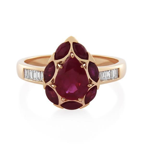 9CT Rose Gold 0.20ct Diamond & Ruby Ladies Ring - Monty Adams