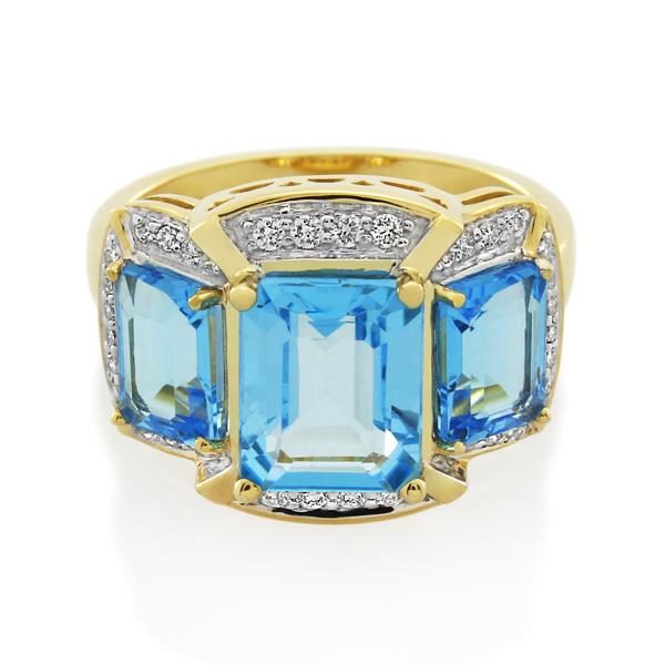 9CT Yellow Gold 0.21ct Diamond & Blue Topaz Ladies Ring - Monty Adams