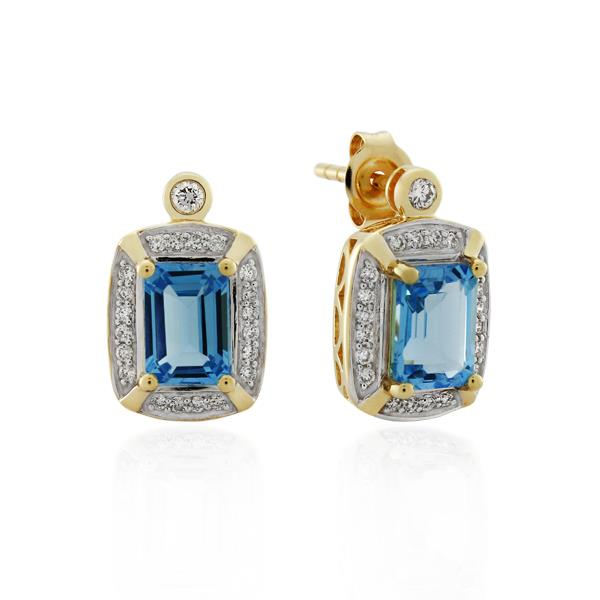 9CT Yellow Gold 0.25ct Diamond & Blue Topaz Earrings - Monty Adams