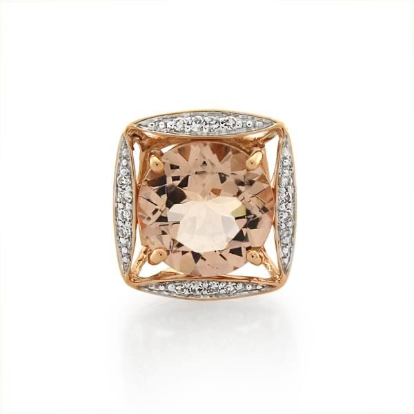 9CT Rose Gold Diamond & Morganite Pendant - Monty Adams