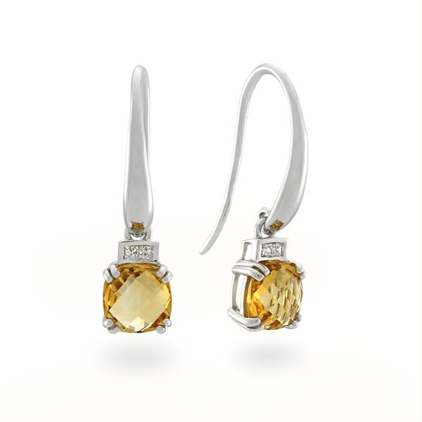 9CT White Gold Diamond & Citrine Earrings - Monty Adams