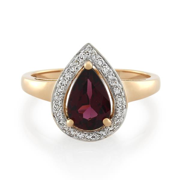 9CT Rose Gold 0.14ct Diamond & Rhodolite Garnet Ladies Ring - Monty Adams