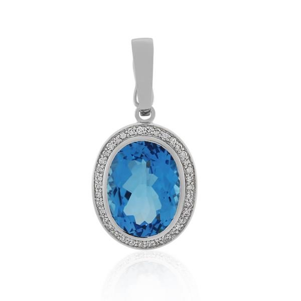 9CT White Gold 0.30ct Diamond & Blue Topaz Pendant - Monty Adams