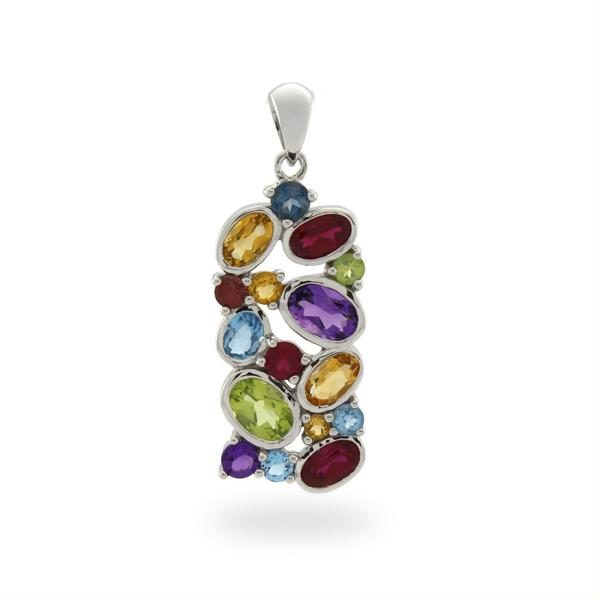 9CT White Gold Amethyst & Blue Topaz & Citrine & Created Ruby & Garnet & London Blue Topaz & Peridot Pendant - Monty Adams