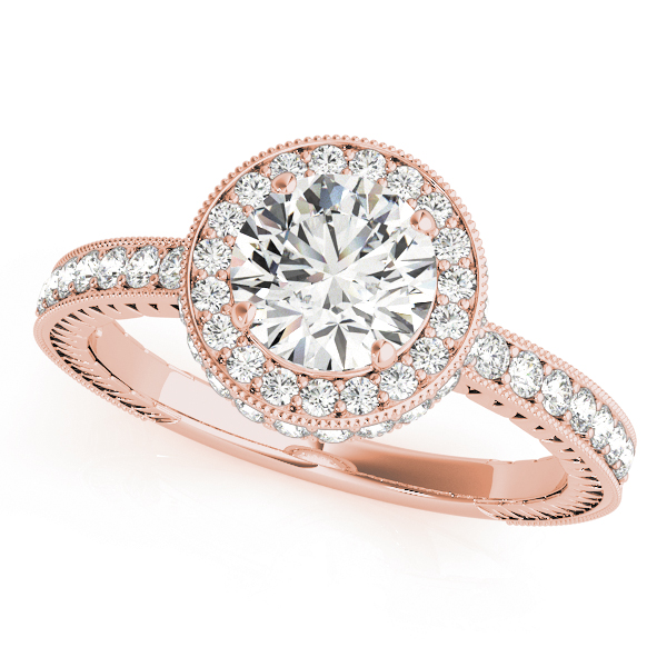 Rose gold channel set round cut diamond ring with milgrain design surrounding the halo and upper shank