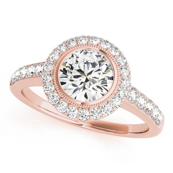 Rose gold round halo diamond ring with milgrain design surrounding the center stone with set of stones embedded on the upper shank