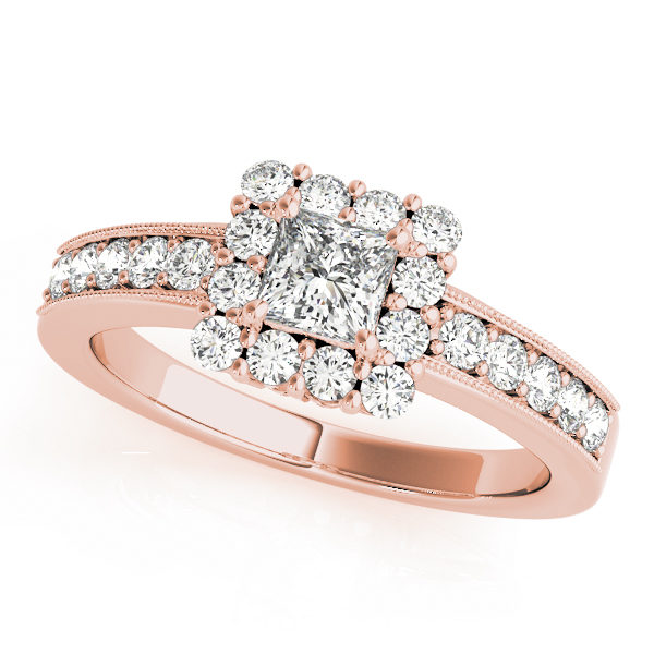 Rose gold square engagement ring with center diamond in square cut in channel setting band