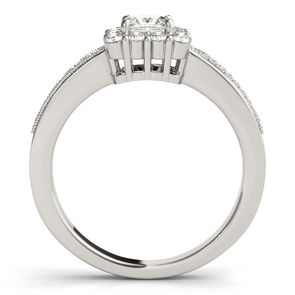 Front view of the square engagement ring revealing the side of the ring in white gold band