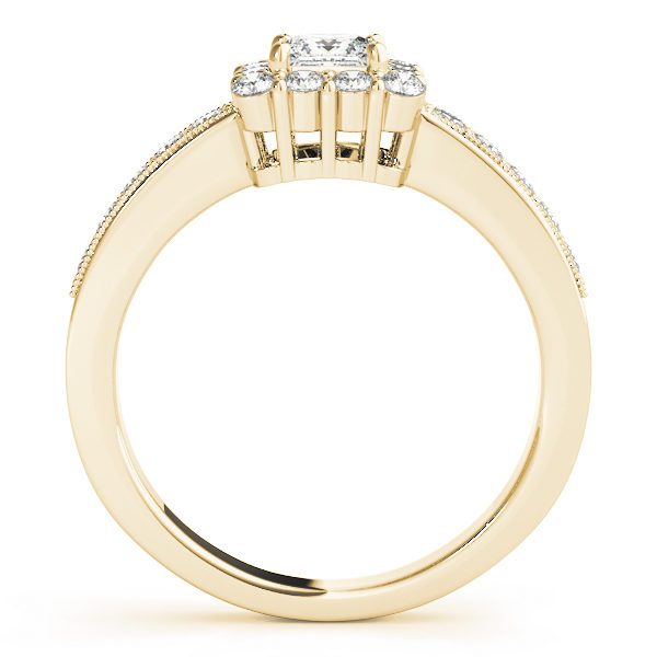Front view of the square engagement ring revealing the side of the ring in yellow gold band
