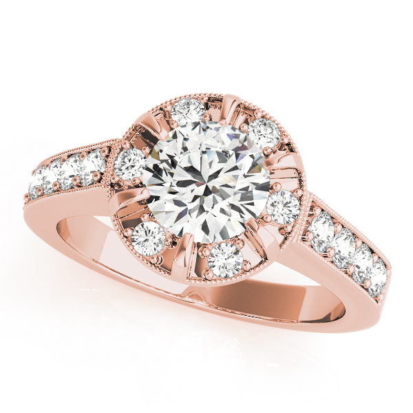 Halo round-cut diamond ring in a six-pronged ring setting with melee diamonds in a rose gold with shared-pronged band