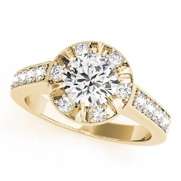 Halo round-cut diamond ring in a six-pronged ring setting with melee diamonds in a yellow gold with shared-pronged band
