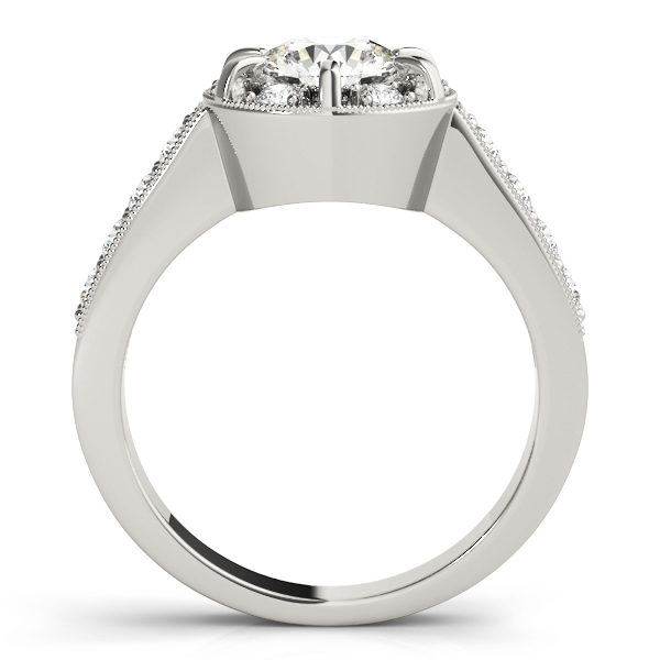 Side view of a halo round-cut diamond ring in a six-pronged ring setting with melee diamonds in a white gold with shared-pronged band
