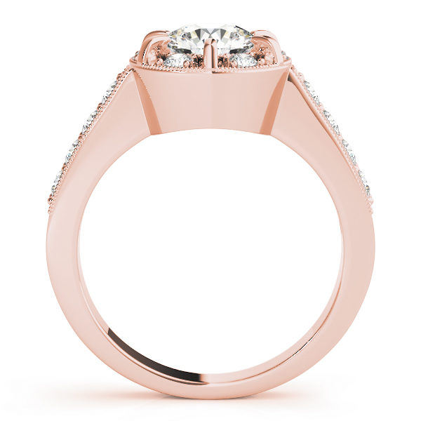 Side view of a halo round-cut diamond ring in a six-pronged ring setting with melee diamonds in a rose gold with shared-pronged band
