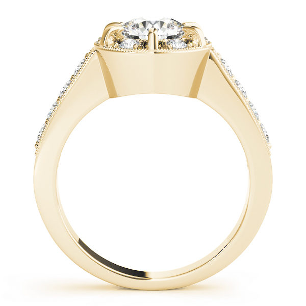Side view of a halo round-cut diamond ring in a six-pronged ring setting with melee diamonds in a yellow gold with shared-pronged band