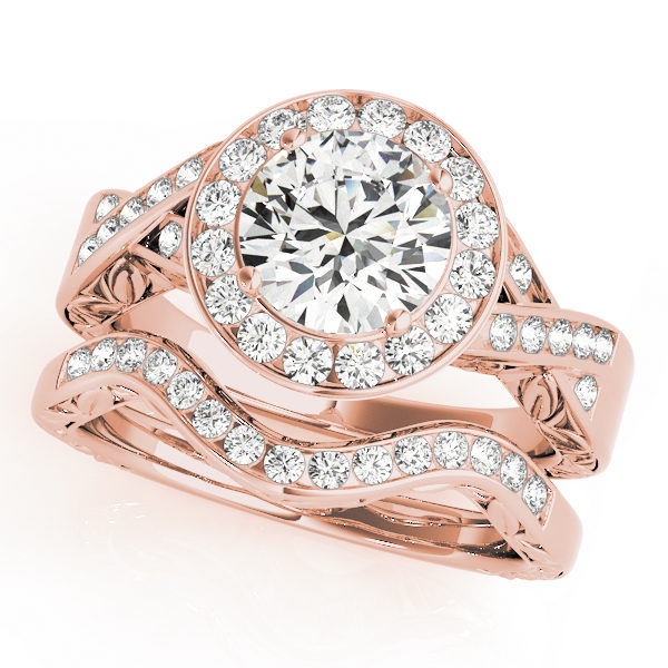 A rose gold wedding ring set comprised of an tisted double band halo engagement ring and a curved leaf motif wedding band.