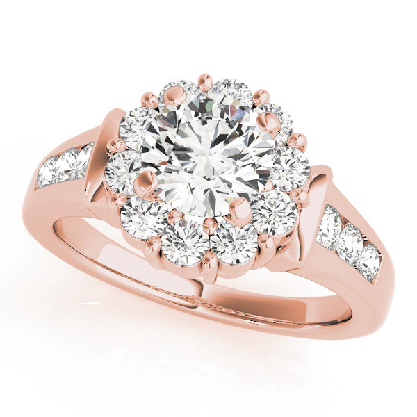 Rose gold round gold halo engagement ring with set of 3 small diamonds on each side of the upper shank