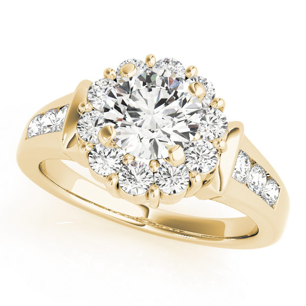 Yellow gold round gold halo engagement ring with set of 3 small diamonds on each side of the upper shank