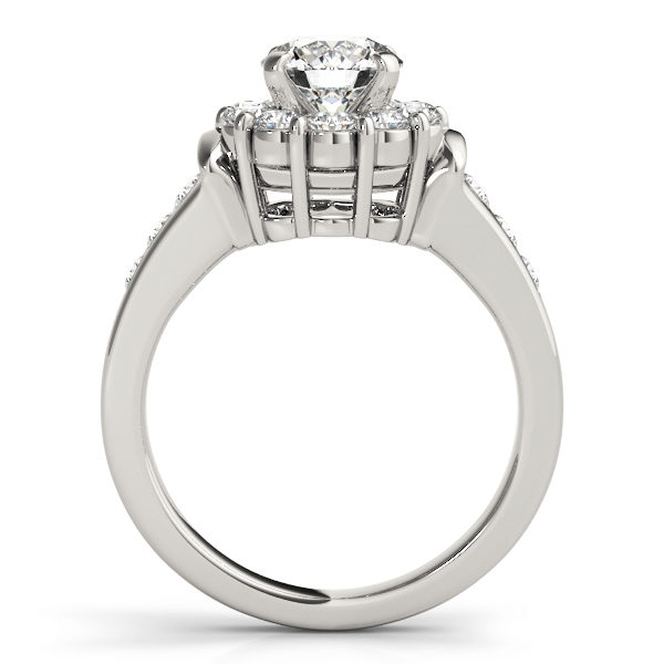 Front view of a white gold round gold halo engagement ring