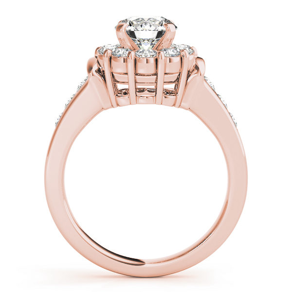 Front view of a rose gold round gold halo engagement ring