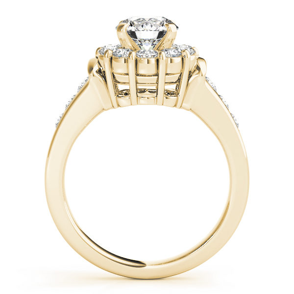 Front view of a yellow gold round gold halo engagement ring