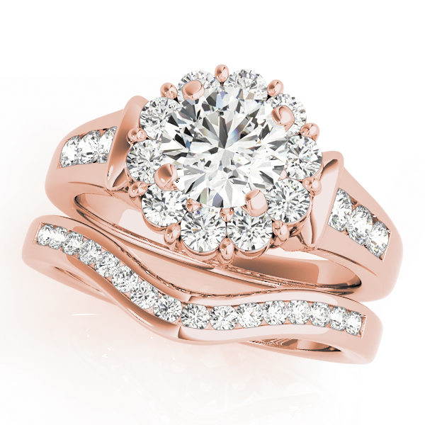 Wedding set of a round gold halo engagement ring with set of 3 small diamonds on each side of the upper shank and a curved wedding band in rose gold