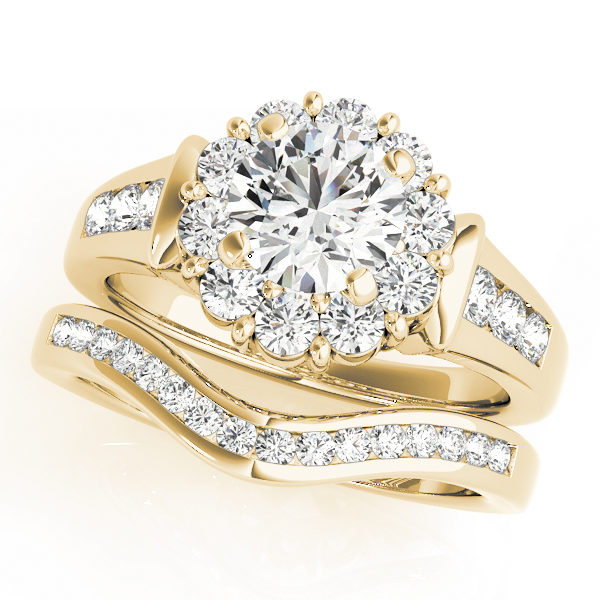 Wedding set of a round gold halo engagement ring with set of 3 small diamonds on each side of the upper shank and a curved wedding band in yellow gold
