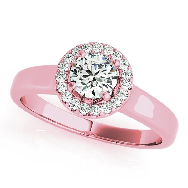 Round halo engagement ring in a pink gold plain band