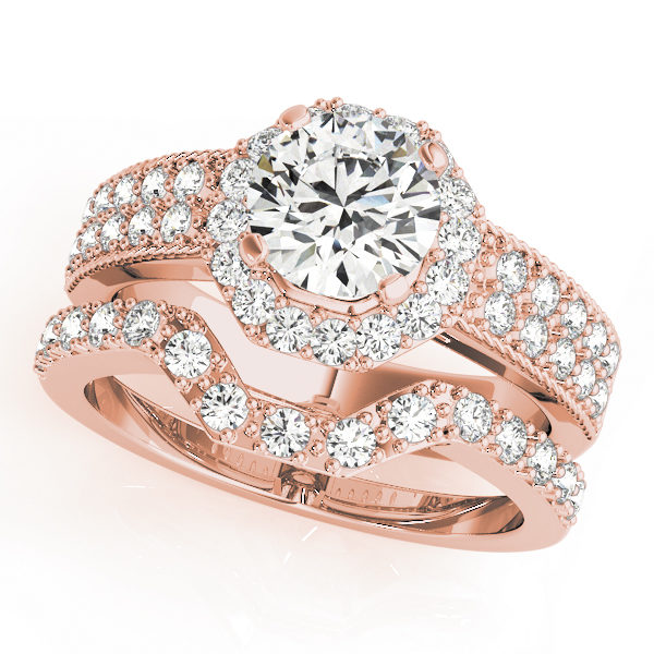 Rose gold double band twisted engagement ring with a round cut diamond in a four pronged setting surrounded by halo and pave diamonds