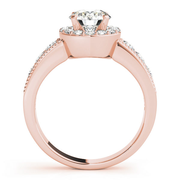 Side view of a rose engagement ring with the gallery attached to the shank seamlessly and both accents filled surface prong set diamonds