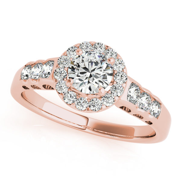 Rose gold halo engagement rings with three smaller diamonds on each side of the upper shank