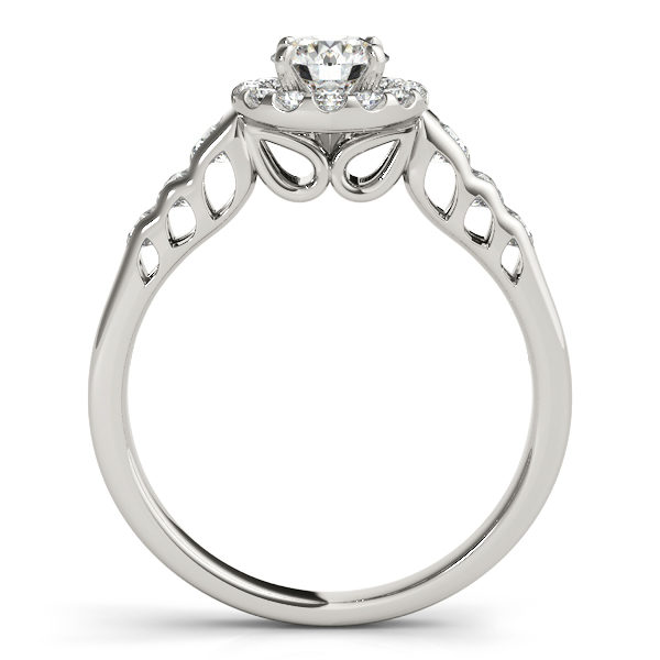 Front view of white gold round halo engagement rings revealing the side part of the ring with hole in marquise on the shank