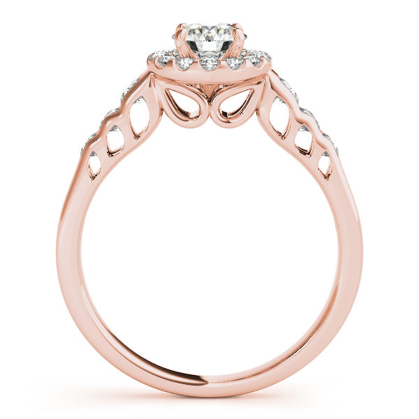 Front view of rose gold round halo engagement rings revealing the side part of the ring with hole in marquise on the shank