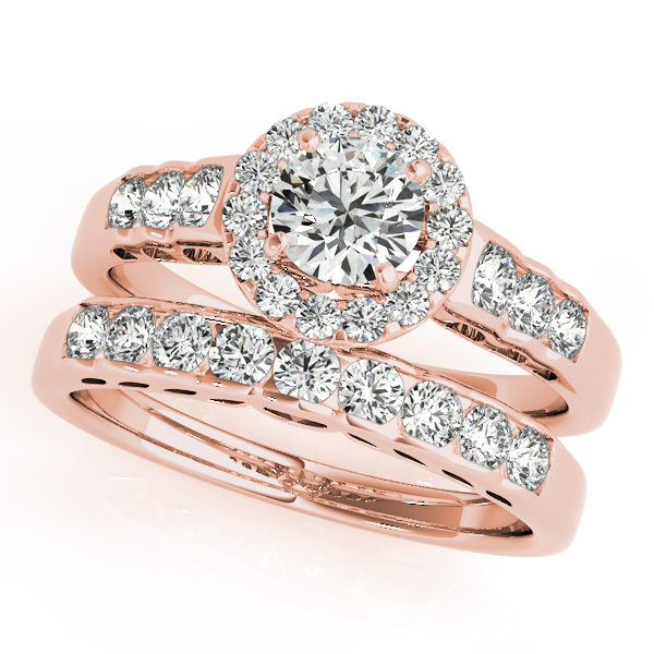 Set of round halo engagement rings and wedding band in rose gold