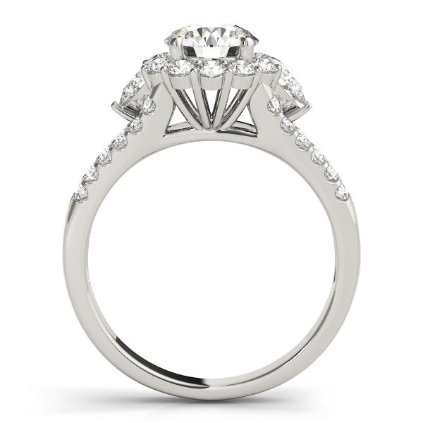 Front view of halo round engagement ring revealing the side part of the ring in white band