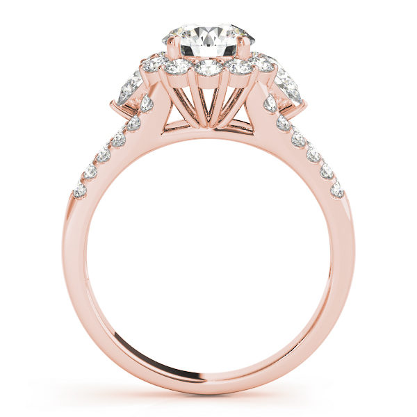 Front view of halo round engagement ring revealing the side part of the ring in rose band