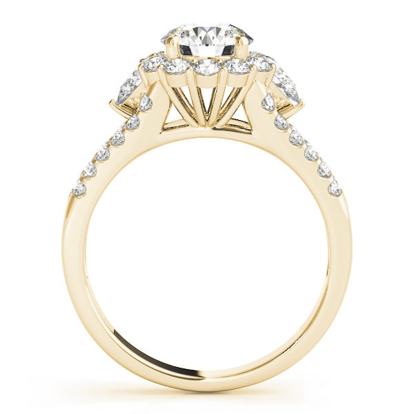 Front view of halo round engagement ring revealing the side part of the ring in yellow band