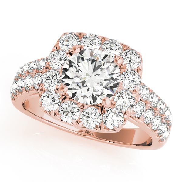 Rose gold square halo engagement ring with double row of surface prong ser diamond embellished band.