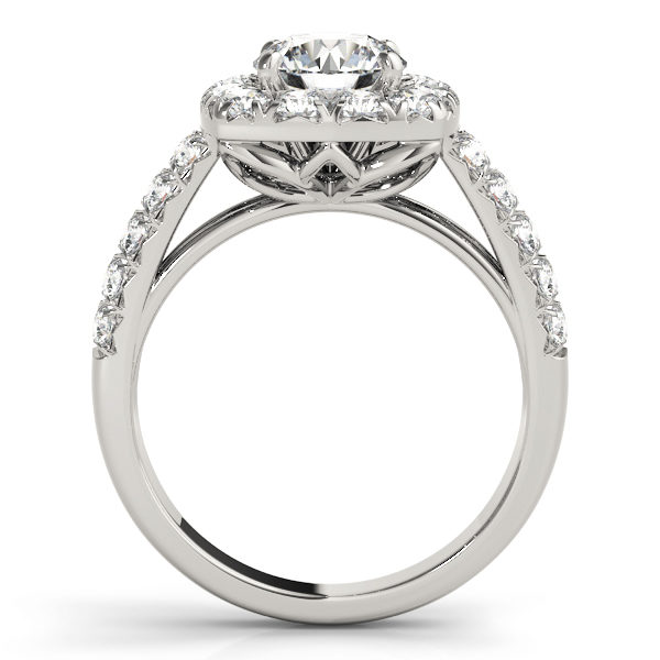 Side view of a white gold, square halo engagement ring with a flower shaped under gallery.