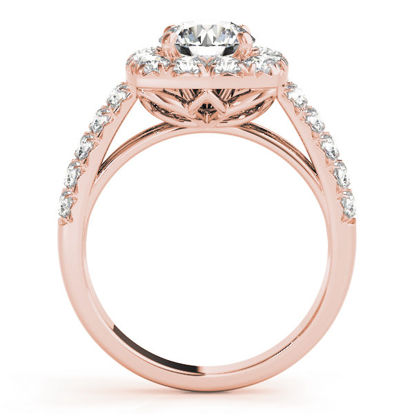 Side view of a rose gold, square halo engagement ring with a flower shaped under gallery.