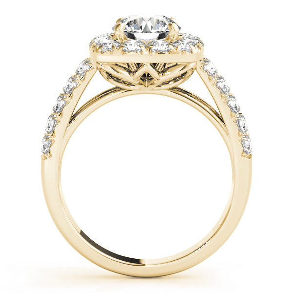 Side view of a yellow gold, square halo engagement ring with a flower shaped under gallery.