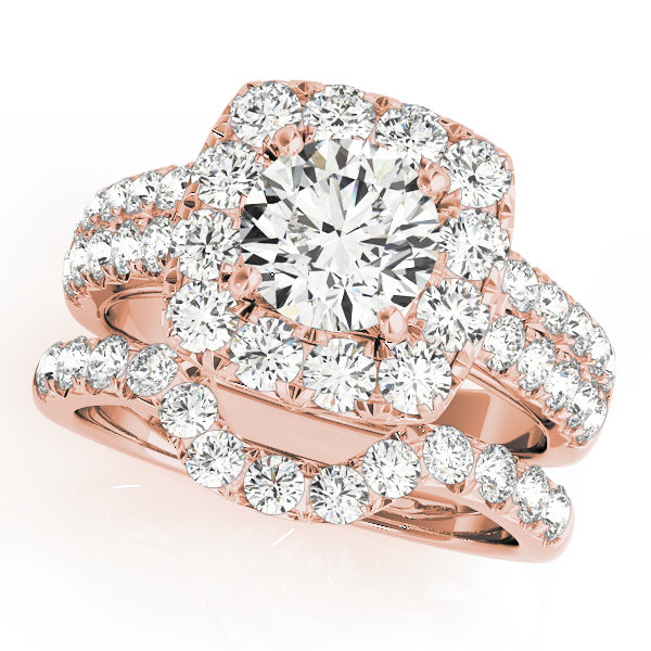 A rose gold wedding ring set made of a square halo diamond engagement ring, and a curved surface prong embellished wedding band.